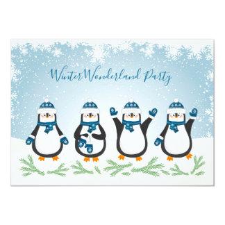 Weihnachten, neues Jahr-Winter Penquins Party Karte