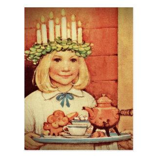 Weihnachten Nisse und Lucia-Tag Karin Postkarte