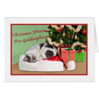 Weihnachten, Patenttochter, Schlafenkatze, Karte