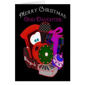 Weihnachten - Patenttochter - Zug und Geschenke Karte