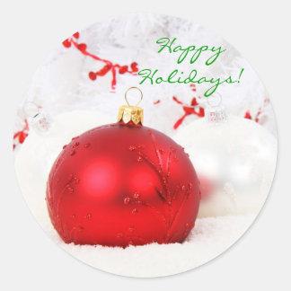Weihnachten rot und Weiß frohe Feiertage ich Runder Aufkleber