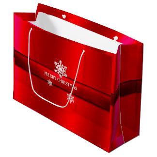 Weihnachten, roter Satin, Schneeflocken, Große Geschenktüte