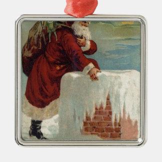 Weihnachten - Sankt, die unten der Kamin kommt Quadratisches Silberfarbenes Ornament
