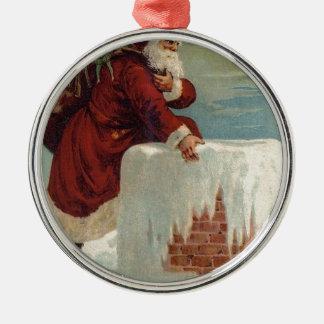 Weihnachten - Sankt, die unten der Kamin kommt Rundes Silberfarbenes Ornament