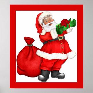 Weihnachten Sankt mit Geschenk Posterdruck