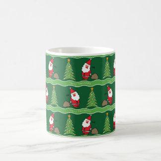 Weihnachten Sankt und Baum auf Grün, Tasse