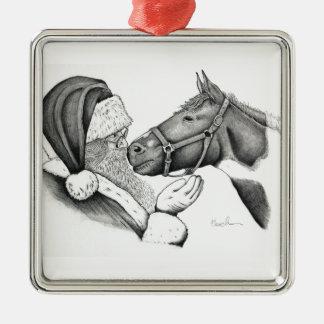 Weihnachten Sankt und Farben-Pferd Silbernes Ornament