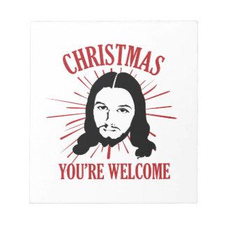 Weihnachten sind Sie willkommen Notizblock