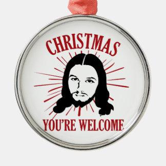 Weihnachten sind Sie willkommen Rundes Silberfarbenes Ornament
