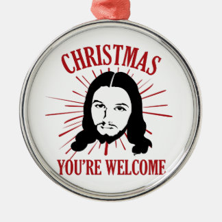 Weihnachten sind Sie willkommen Silbernes Ornament