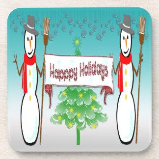 Weihnachten - Snowmen, glücklicher Feiertags-Korke Getränke Untersetzer