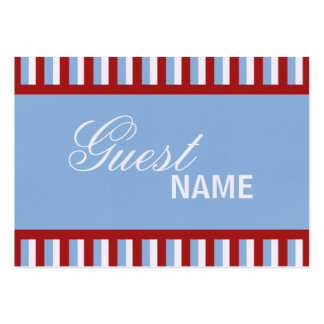 Weihnachten Stripes blaue Abendessen-Platzkarte Jumbo-Visitenkarten