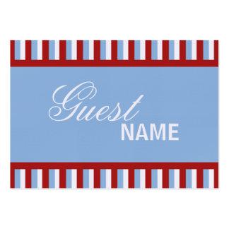 Weihnachten Stripes blaue Abendessen-Platzkarte Mini-Visitenkarten
