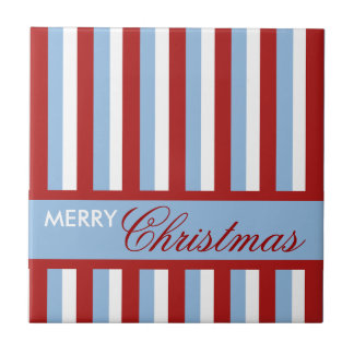 Weihnachten Stripes blaue Fliese