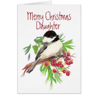 Weihnachten, Tochter-Chickadee-Vogel, Natur, Karte