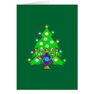 Weihnachten und Chanukka zusammen Karte