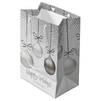 Weihnachten verziert silbernes ID251 Mittlere Geschenktüte