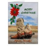 Weihnachten vom Texas-Western-Stiefel Grußkarte