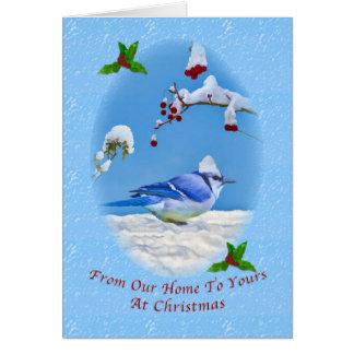 Weihnachten, von unserem Zuhause, von blauen Vogel Karte