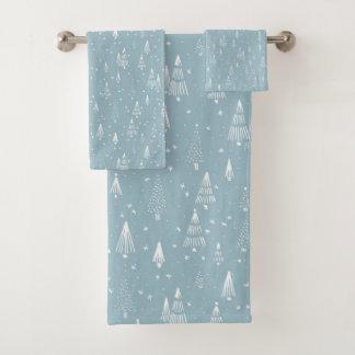 Weihnachten, Winter, Blau, Gewohnheit Badhandtuch Set