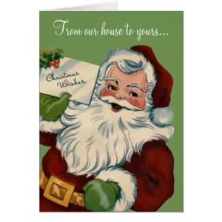 Weihnachten wünscht Retro Weihnachtsmann-Karte Karte