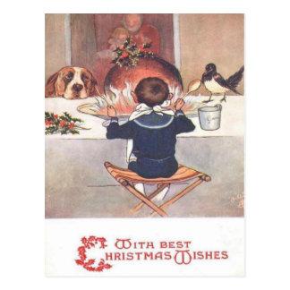 Weihnachten wünscht Vintage Weihnachtspostkarte Postkarte