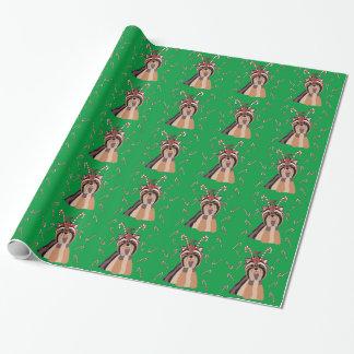 Weihnachten Yorkie mit Zuckerstange-Packpapier Geschenkpapier