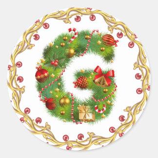 Weihnachtenanfangsg-Monogrammaufkleber Runder Aufkleber