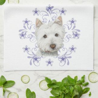 Weihnachtenblättert niedliche Westie Hundekunst un Handtuch