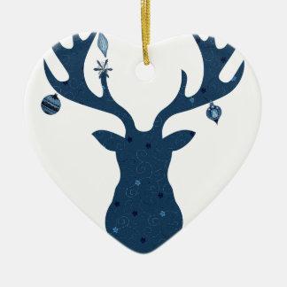 WeihnachtenBoho Rotwild-Kopf Keramik Herz-Ornament