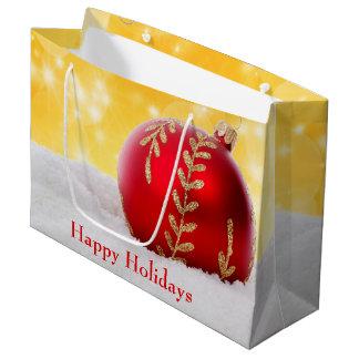 WeihnachtenBokeh Schnee-Weihnachtsball Große Geschenktüte