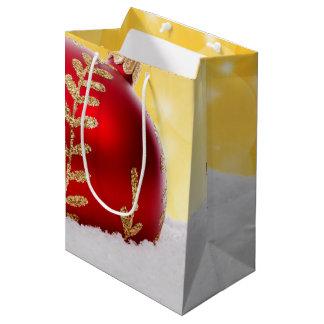 WeihnachtenBokeh Schnee-Weihnachtsball Mittlere Geschenktüte