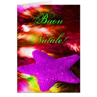 WeihnachtenBuon Natale lila Weihnachtsstern Grußkarte