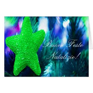 WeihnachtenBuone Feste Natalizie Grün-Stern II Grußkarte