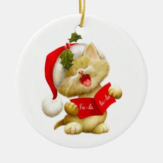 Weihnachtenc$verzierung-sankt Miezekatze Keramik Ornament