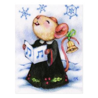 WeihnachtenCaroling Mäuseniedliche Postkarte