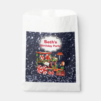 WeihnachtenChoo Choo Zug-blauer Imitat-Glitter Geschenktütchen
