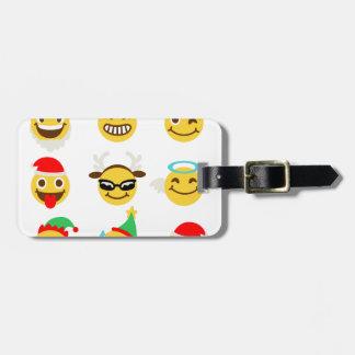 Weihnachtenemoji glückliche Gesichter Gepäckanhänger