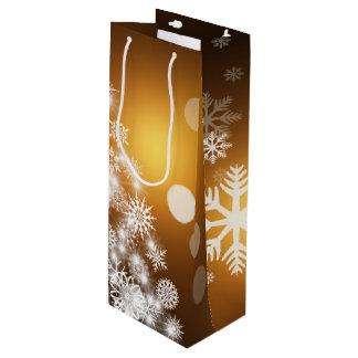 Weihnachtengoldener Bokeh Schneeflocke-Baum Geschenktüte Für Weinflaschen
