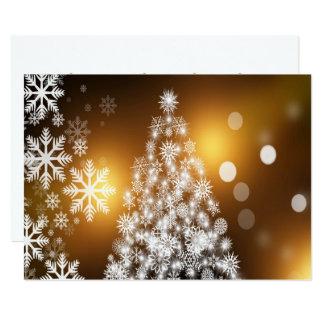 Weihnachtengoldener Bokeh Schneeflocke-Baum Karte