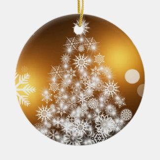Weihnachtengoldener Bokeh Schneeflocke-Baum Keramik Ornament