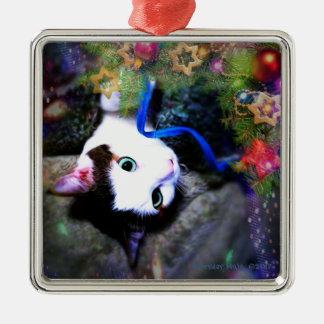WeihnachtenHijinks erstklassige quadratische Silbernes Ornament