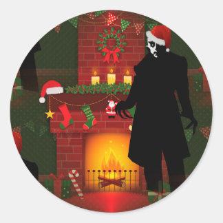 Weihnachtennosferatu Runder Aufkleber