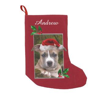 Weihnachtenpitbull Welpe personalisierter Strumpf Kleiner Weihnachtsstrumpf