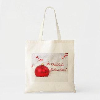 Weihnachtenrotes und weißes Frohliche Weihnachten Budget Stoffbeutel