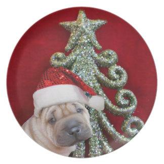 Weihnachtenshar pei Welpe Flache Teller