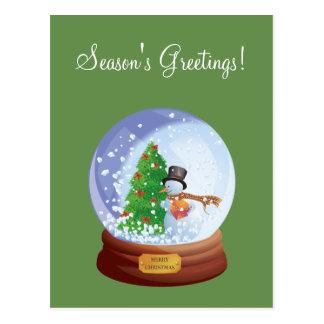 WeihnachtenSnowglobe kundenspezifische Postkarte