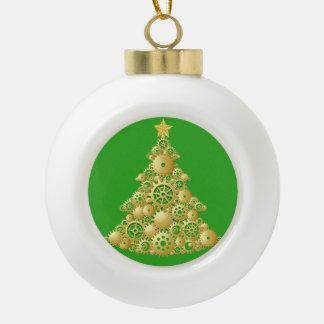 WeihnachtenSteampunk Gold übersetzt Baum Keramik Kugel-Ornament