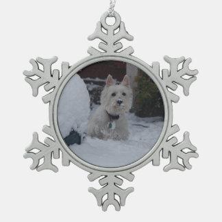 WeihnachtenWestie Dekoration Schneeflocken Zinn-Ornament