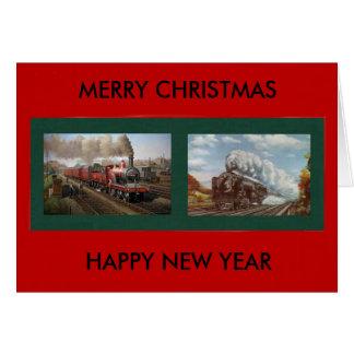 Weihnachts-/des neuen Jahreskarte mit Dampf-Motor Karte